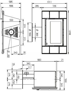 kaminofen carillon 16 9 bordeaux nordica kaminoefen. Black Bedroom Furniture Sets. Home Design Ideas